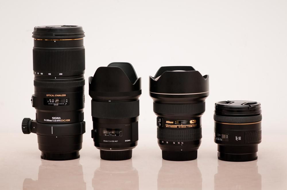 Sigma 70-200mm F2.8, Sigma 35mm F1.4, Nikon 14-24mm F2.8, Minolta 85mm F1.4