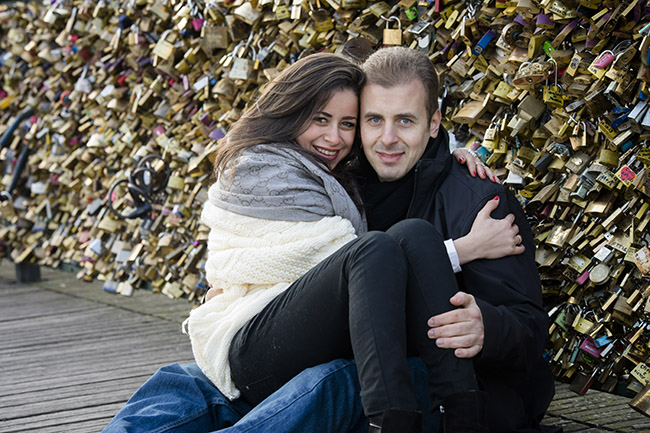Shooting Photo couple Pont des Arts Paris