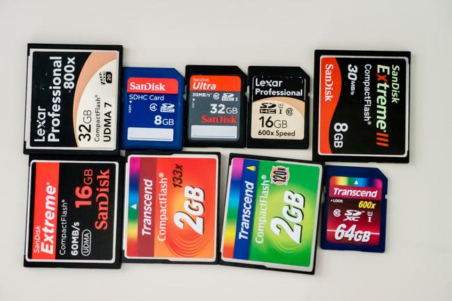 Cartes mémoire compact flash et SD
