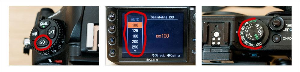 Ecrans, boutons et molettes de la sensibilité ISO