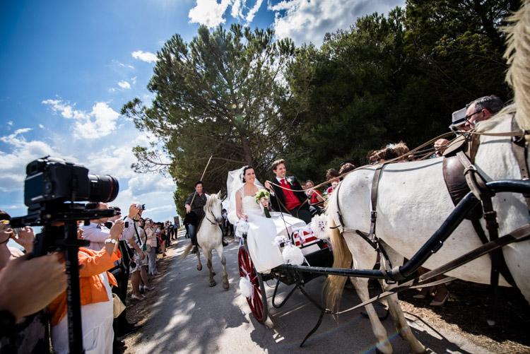 arrivée des mariés au Mas du Grand Bordes en calèche