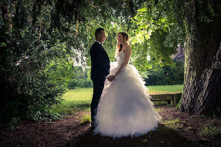 mariés posant en contre-jour dans le parc du vexin