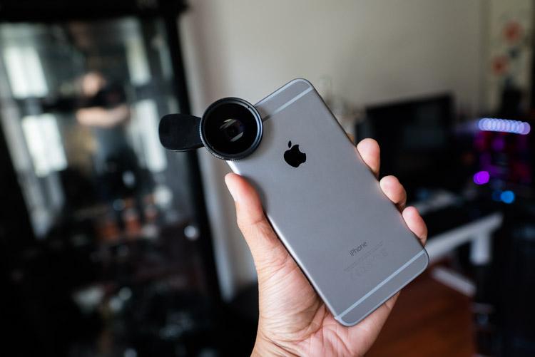 vue du filtre aukey PF-C1 sur iphone 6 plus