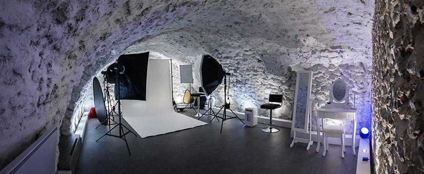 studio photo aménagée dans une cave atypique